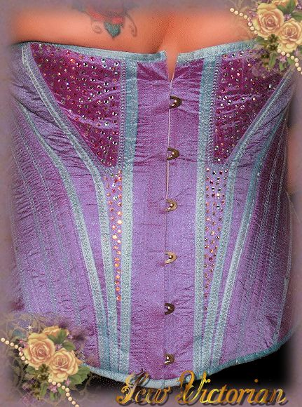 1876 Mid Bust Corset made from lucious dupioni Silk