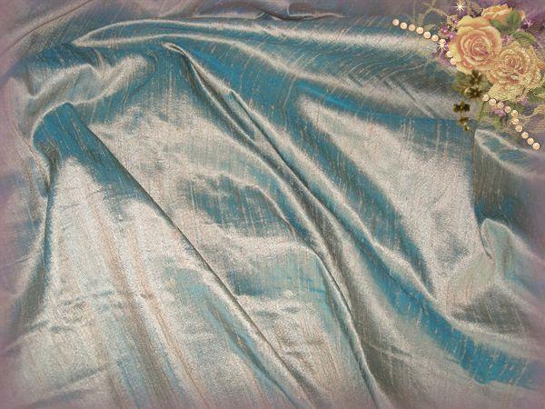 Bronzed Aqua Dupioni Silk